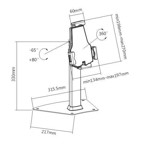 Fiber Mounts TAGATA1 je stolní stojan s držákem na tablety iPady se zajištěním proti odcizení, krádeži. Nastavení náklonu, rotace obrazovky, vedení kabeláže, top kvalita