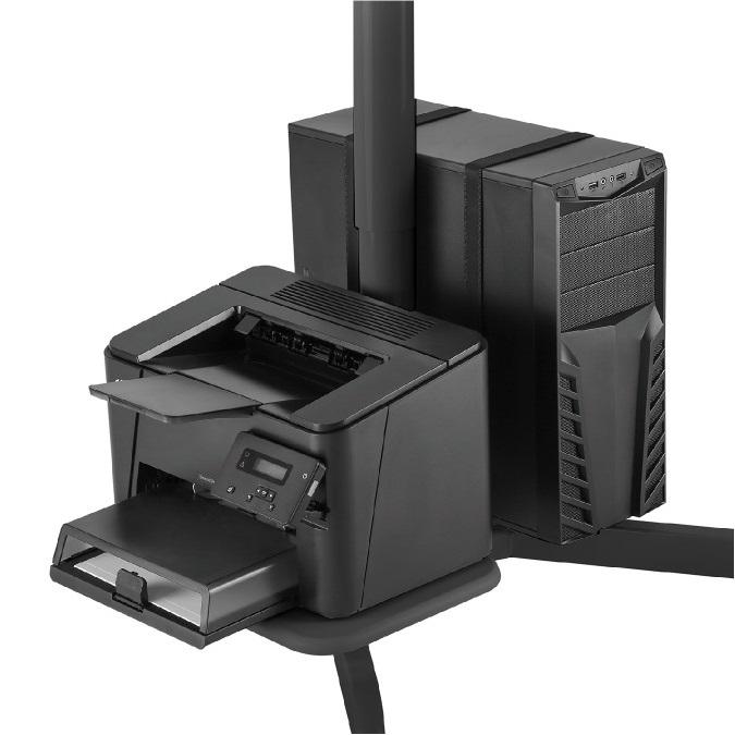 Dolní polička na příslušenství, např. tiskárnu a univerzální držák na PC tower na pracovní stanici Fiber Mounts M8C48