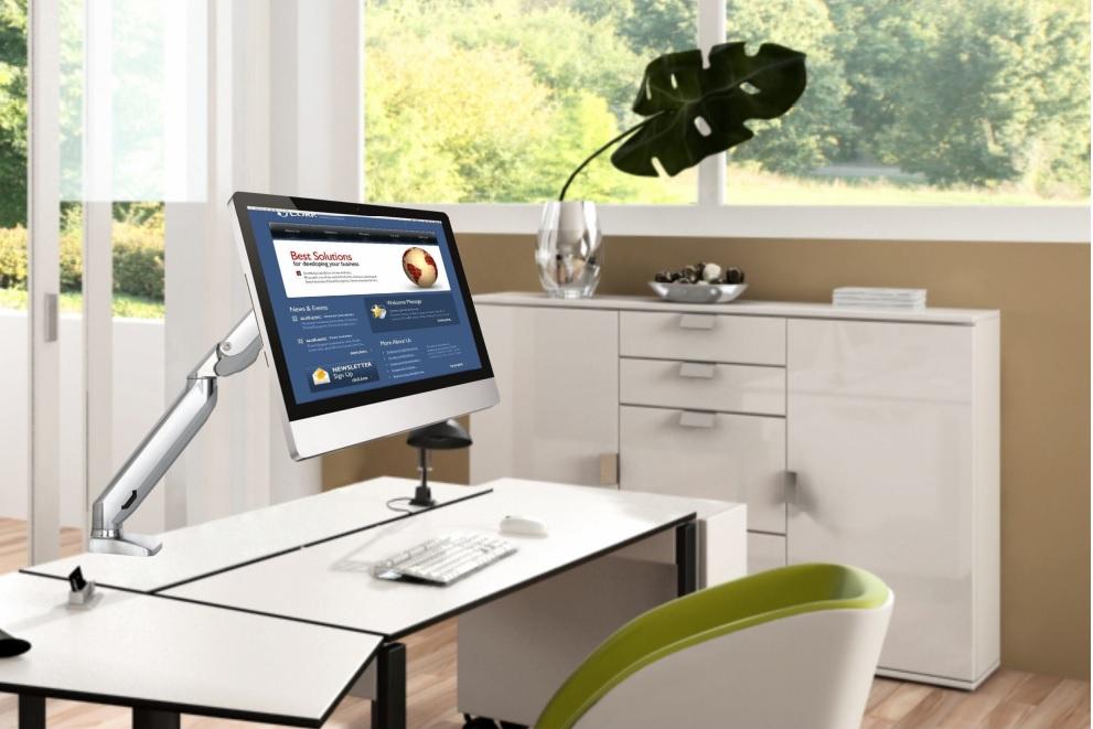 Stolní držák na monitor nebo televizor s úhlopříčkou 17 až 27 palců v unikátním designu, plně nastavitelný - Fiber Mounts F100