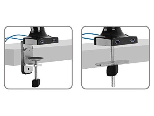 Stolní držák MC673 - 2 typy uchycení na stolovou desku jsou součástí balení