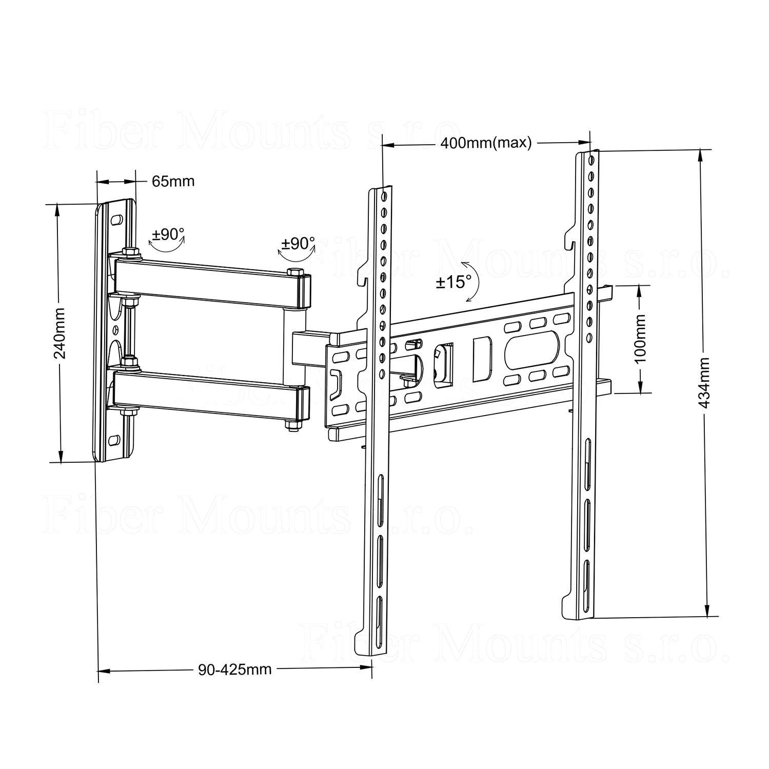 Kvalitní ocelový držák na Tv, zavěšení na stěnu, kloubový - otočný do stran, sklopný, délkově nastavitelný. Nosnost 30kg, VESA 100x100 až 400x400, doporučená úhlopříčka Tv 26-55 palců - Fiber Mounts FM761 / drzakyastolky.cz