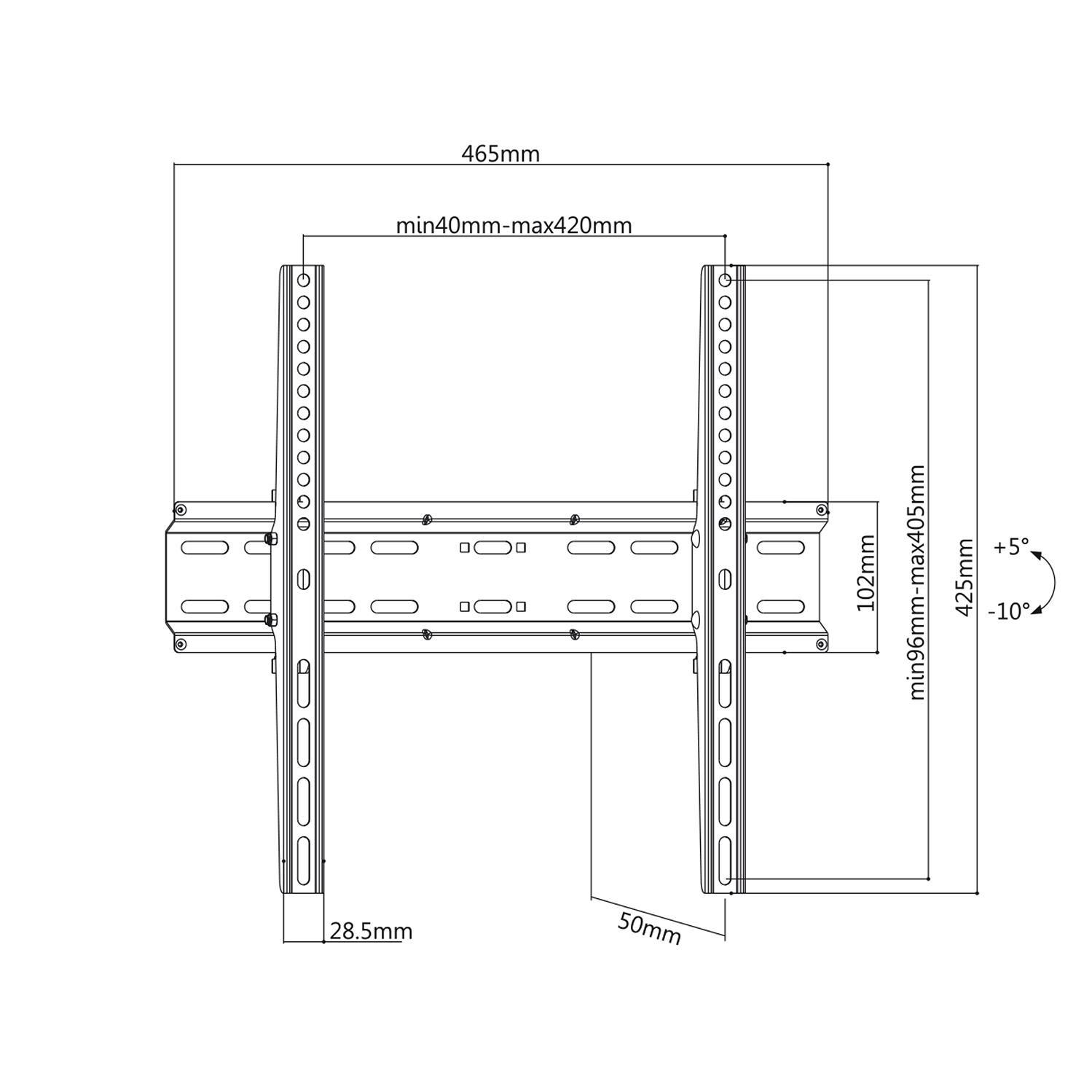 Spolehlivý, bezpečný a levný držák pro zavěšení televize na stěnu s možností nastavení náklonu, podpora VESA, nosnost 35kg - Fiber Mounts DELTA748