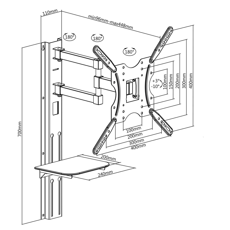 Univerzální sestava polohovatelného držáku na Tv, police a závěsné lišty - Fiber Mounts SET772