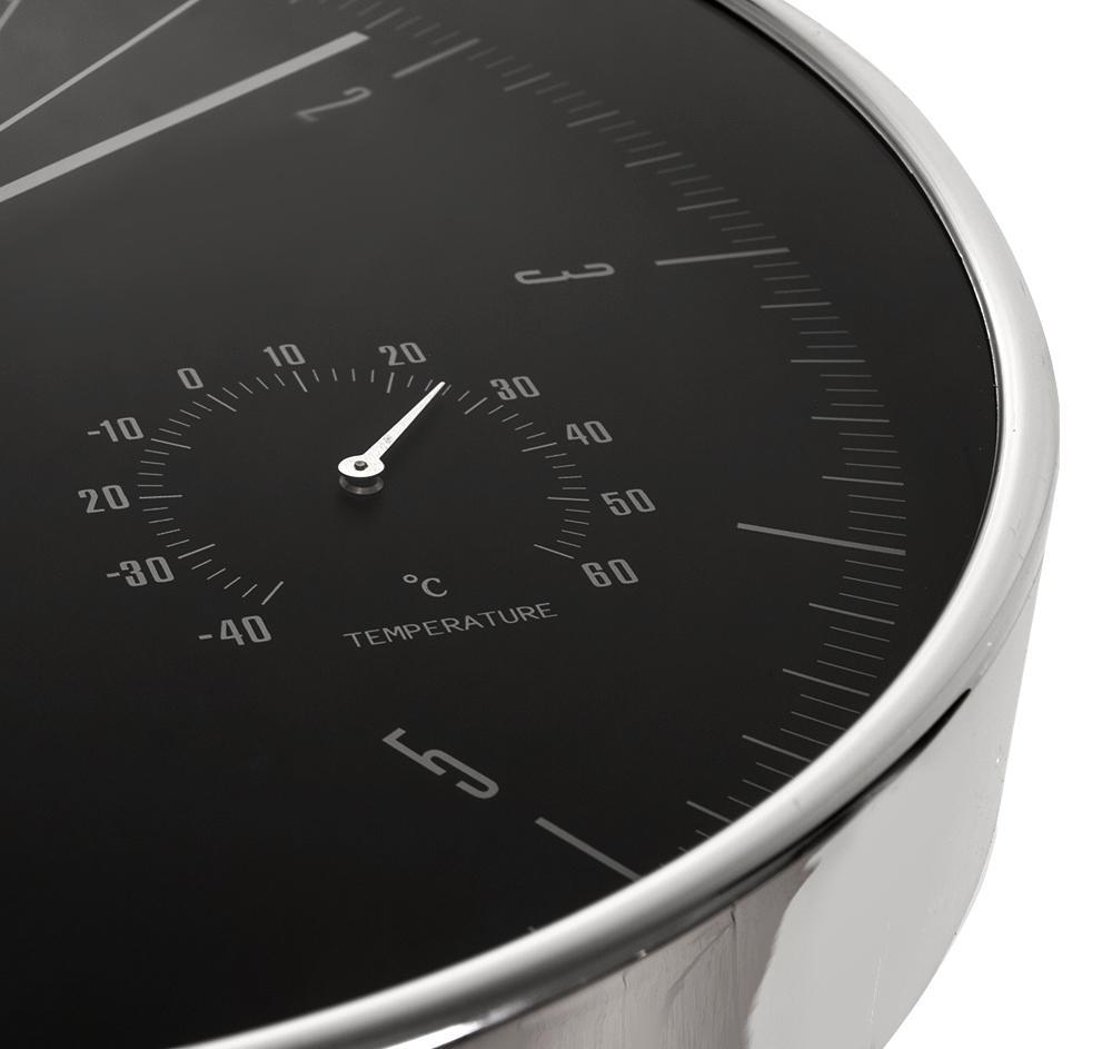 Designové hodiny s tichým chodem - netikající, neslyšitelné, průměr 30cm, s teploměrem a vlhkoměrem, hliníkové - Fiber Mounts CE60