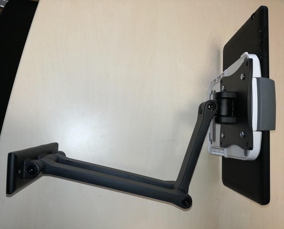 Držák tabletu iPadu UT731 je možné uchytit na kterýkoliv držák s podporou VESA 75x75 - na nástěnné, stolní i stropní držáky - Fiber Mounts UT731 + držák FN101