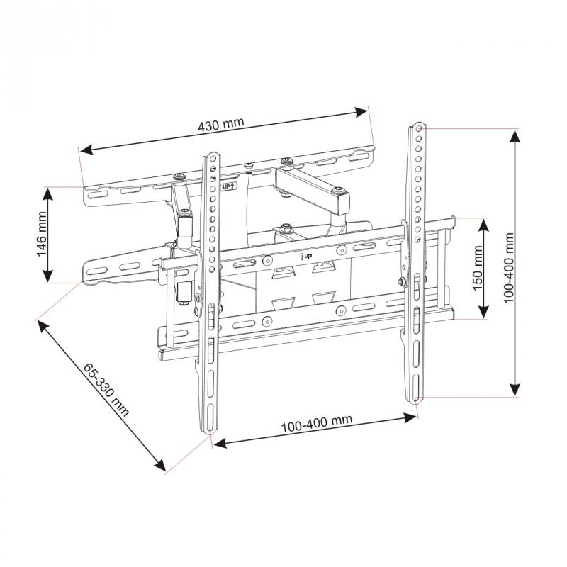 Levný otáčecí a naklápěcí držák na televize, nosnost 45kg, VESA standard, vynikají kvalita, ocelová konstrukce - Fiber Mounts AR50