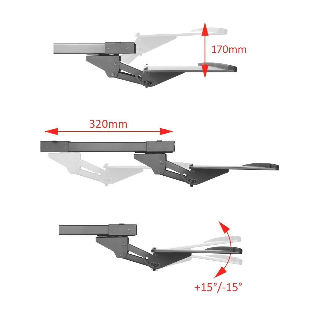 Plně nastavitelná vysouvací polička pro uložení klávesnice a myši, pohodlné nastavení pro vysoký pracovní komfort - Fiber Mounts KL757