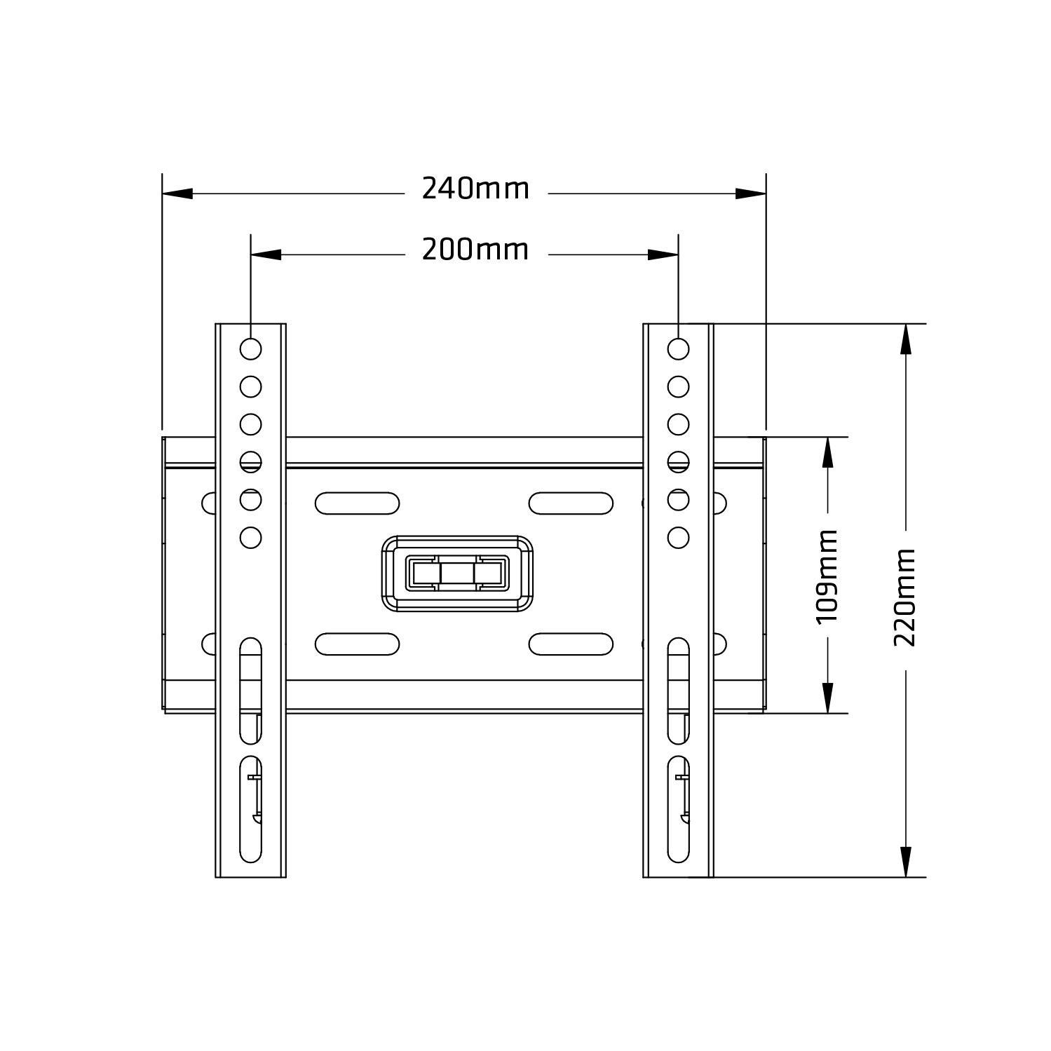 Levný držák na LCD LED televizi nebo monitor s úhlopříčkou 13-42 palců, nosnost 35kg, VESA 75x75 až 200x200, konstrukce ocelová, integrovaná vodováha, montážní materiál v balení - Fiber Mounts AX777