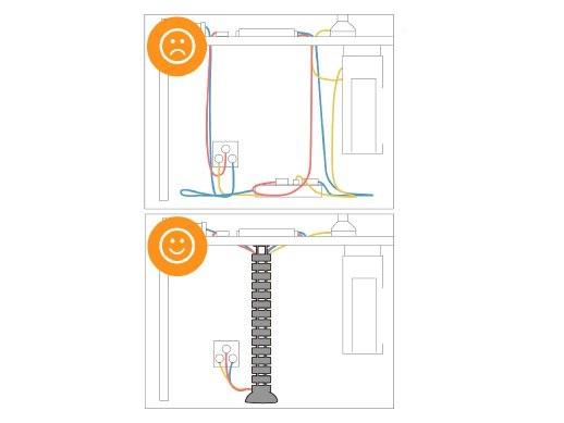Fiber Mounts SNAKE768S - profesionální designová vodící lišta na kabely / pořadač na kabely / lišta na kabely k pracovnímu stolu na PC a A/V příslušenství