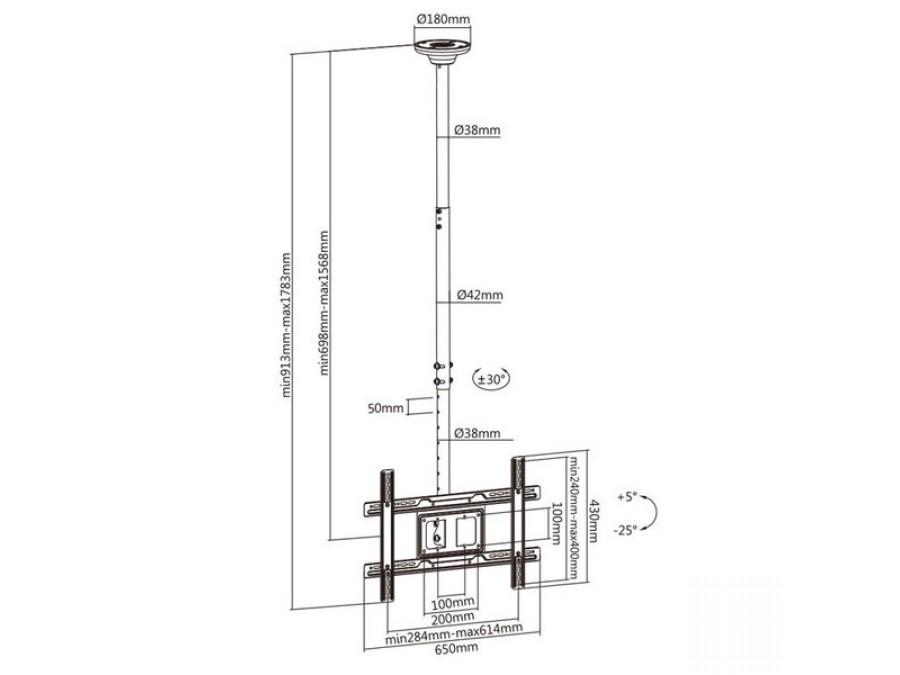 """Fiber Mounts M8C3 - kvalitní nastavitelný stropní držák na televize i monitory 23-90"""""""