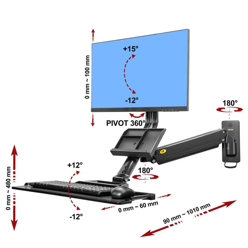 3D polohovatelný držák na monitor All in One Pc a klávesnici, uchycení na zeď nebo svislou plochu - Mounts MC32B