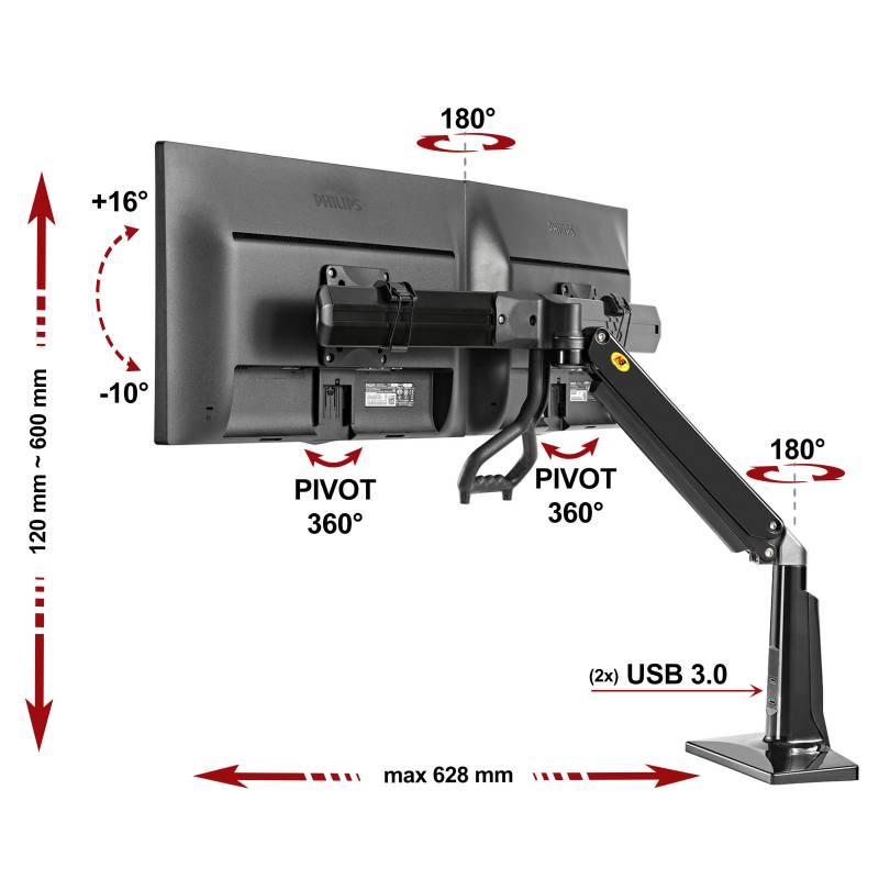 Kancelářský držák pro 2 monitory vedle sebe, uchycení na stoly, plně polohovatelný, snadno 1 rukou - Mounts F27B