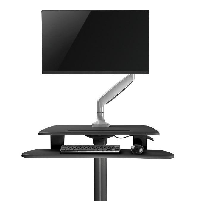 Horní pracovní deska je vhodná i pro použití stolního držáku na monitor - pracovní stanice Fiber Mounts M8C48