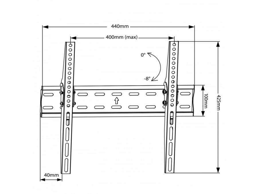 """Držák na Tv 27-60"""" s možností naklopení 0-8°, nosnost 40kg Fiber Mounts M8C62"""