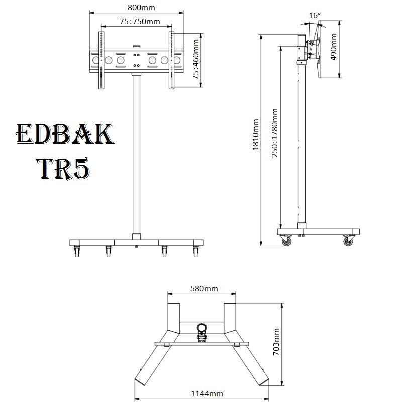 cb69bec31 Televizní stojan Edbak TR5 - rozměry, technický výkres