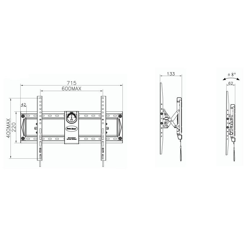 Fiber Novelty C70T - profesionální nástěnný držák se systémem odsunutí od zdi, úpravou výšky a automatickým upnutím obrazovky na držák