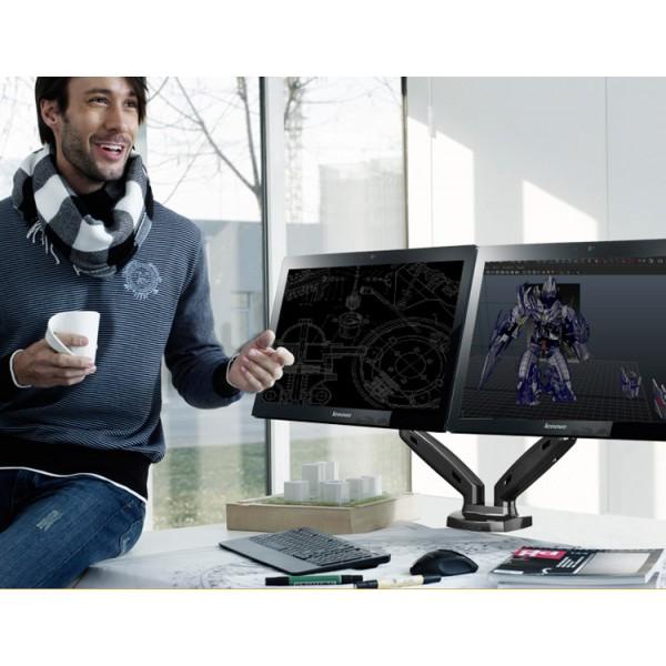 Stolní multimonitorový držák Fiber Mounts F160 - nezávislé zavěšení 2 monitorů na stolní držák