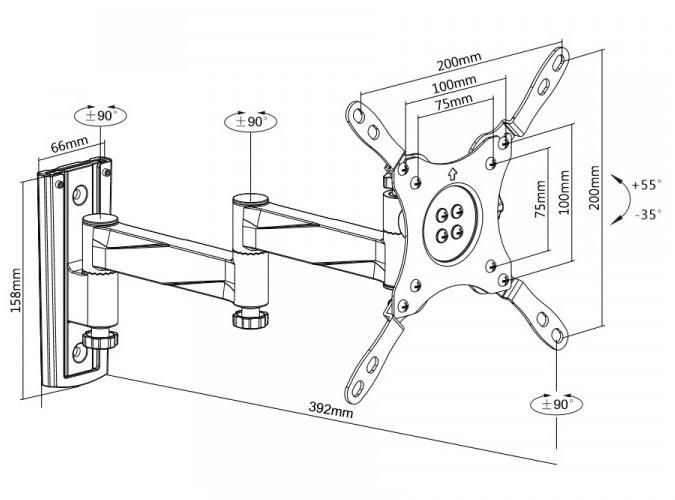 Fiber Mounts M6C75 je nástěnný televizní držák s fixací v požadované poloze