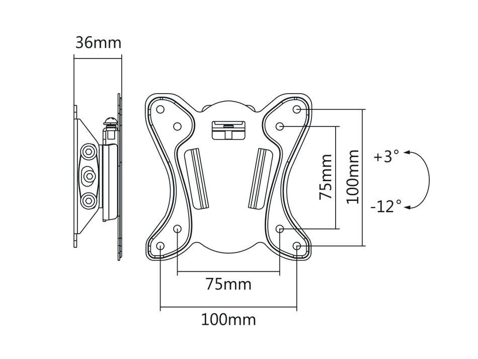Nástěnný držák na monitor nebo malou televizi s možností náklonu Fiber Mounts M7C15