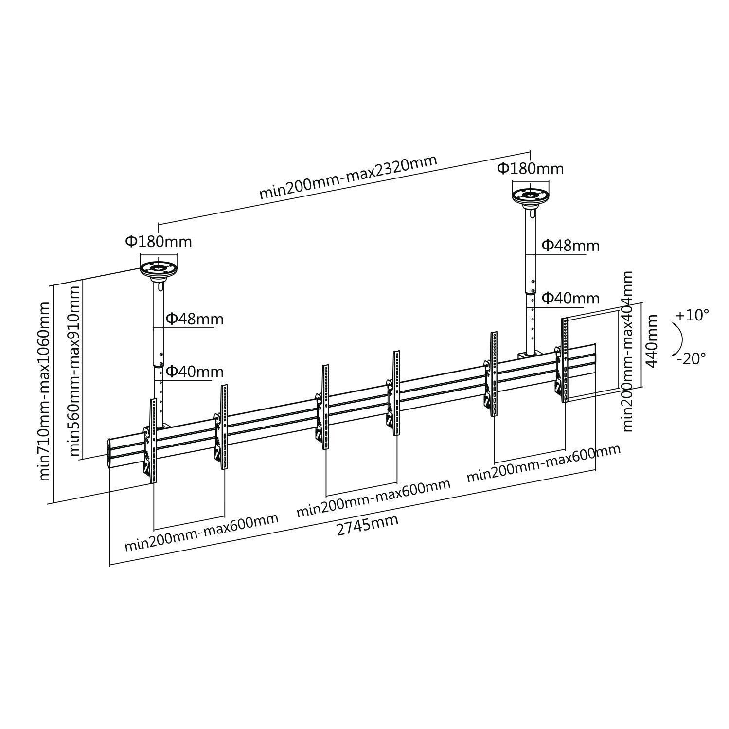 Fiber Mounts M7C32 - výškově polohovatelná televizní stěna na 3 televize, nastavení náklonu, stropní zavěšení
