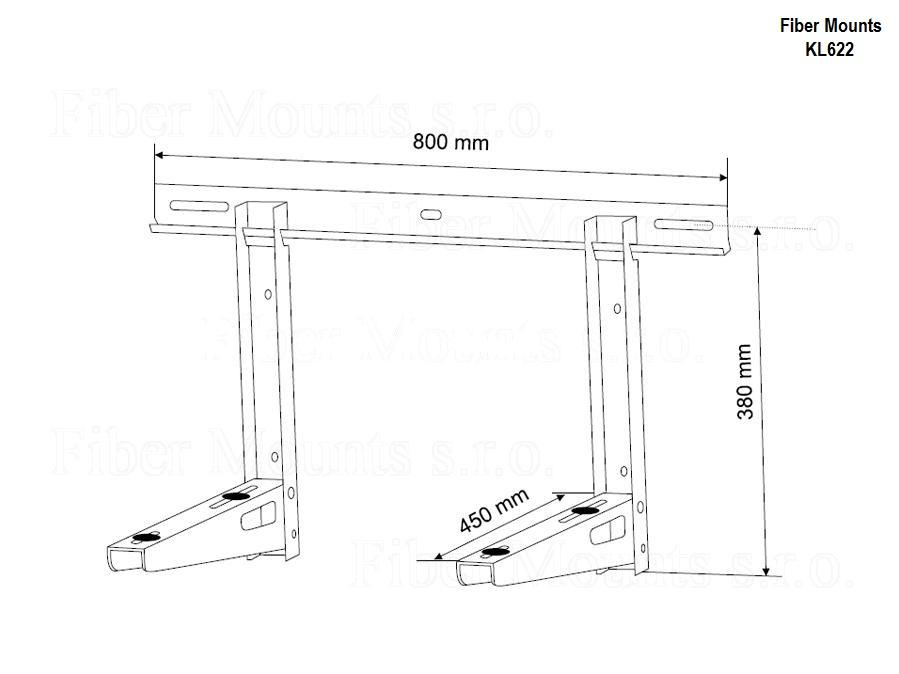 Držák klimatizační jednotky, venkovní, nosnost 100kg - Fiber Mounts KL622