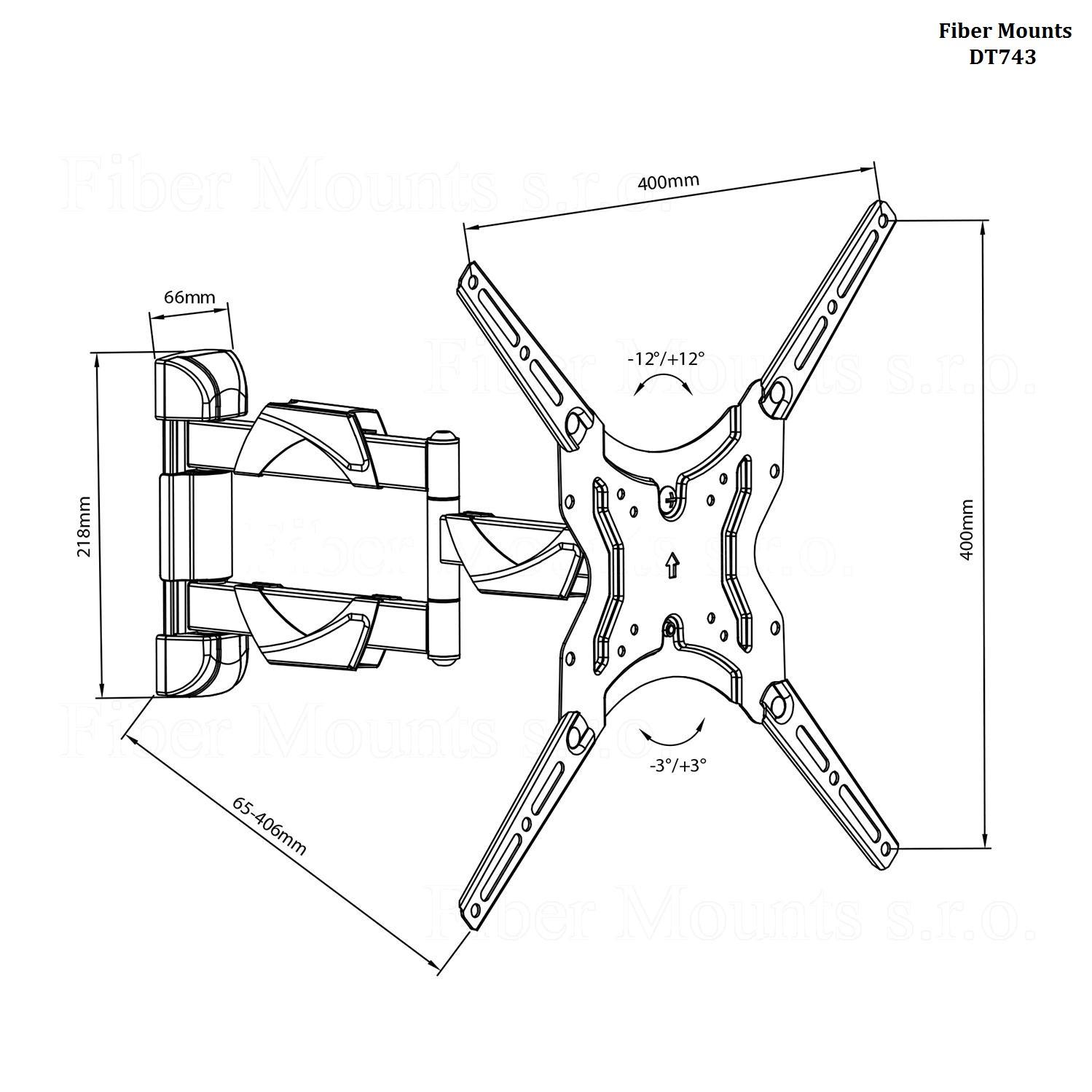 Držák na ploché televize - Fiber Mounts DT743