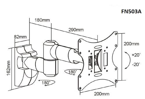 Otočný sklopný délkově nastavitelný držák na LCD LED televize s úhlopříčkou 17-42 palců - Fiber Novelty FN503A