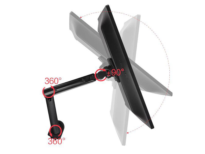 3D polohovatelný držák Tv monitoru, stolový. Otáčení do stran, náklon, nastavení délky, rotace obrazovky, vedení kabeláže, USB porty - Fiber Mounts F90A