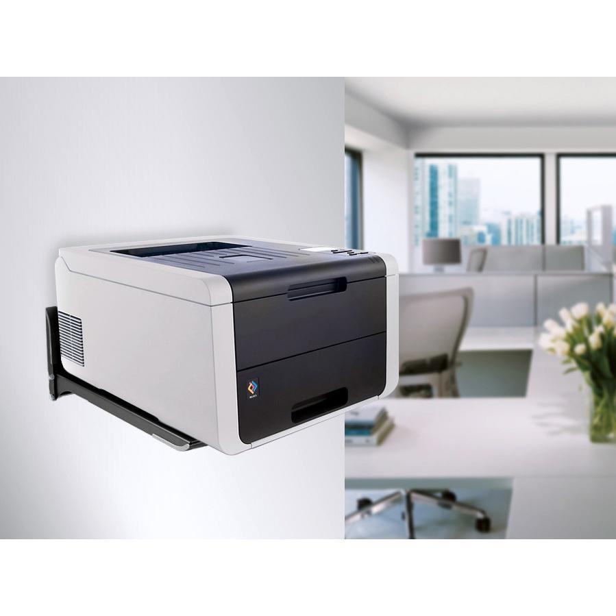 Nástěnný držák na tiskárnu, mikrovlnku, A/V příslušenství, nastavitelná délka ramen, nosnost 45kg - Fiber Mounts AX776B