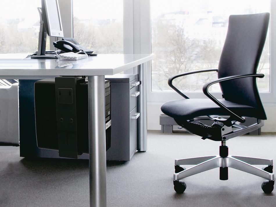 Držák PC, univerzální, pevný, spolehlivý, bezpečný. Uchycení PC na stůl, stěnu nebo strop - Fiber Mounts PC713B
