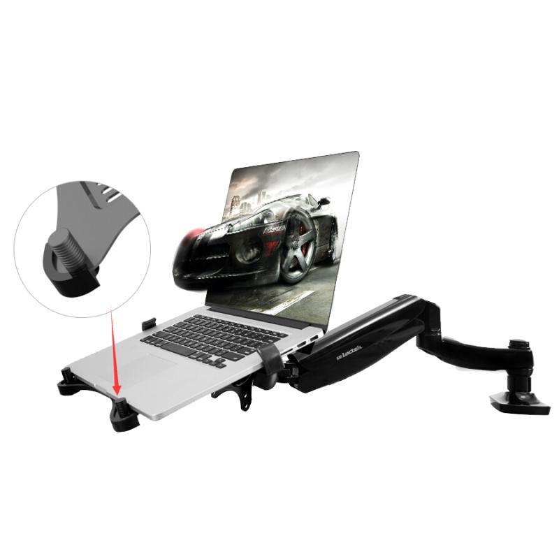 Uchycení notebooku na stolní držák pomocí poličky Ergosolid LT105