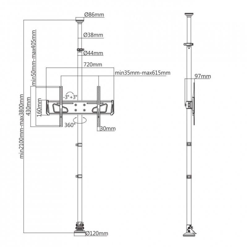 Fiber Mounts M79C1 je kvalitní systém pro zavěšení televize do prostoru, kde není možné použít nástěnný nebo stropní držák, televizní stolek nebo stojan
