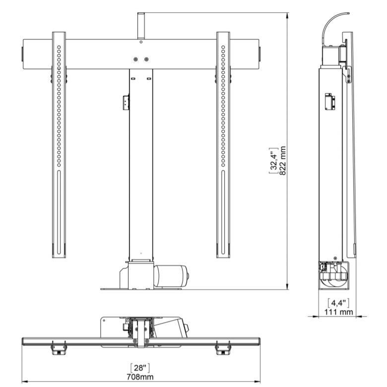 Nábytkový elektrický motorizovaný stojan na televizi Fiber Mounts FM-K2