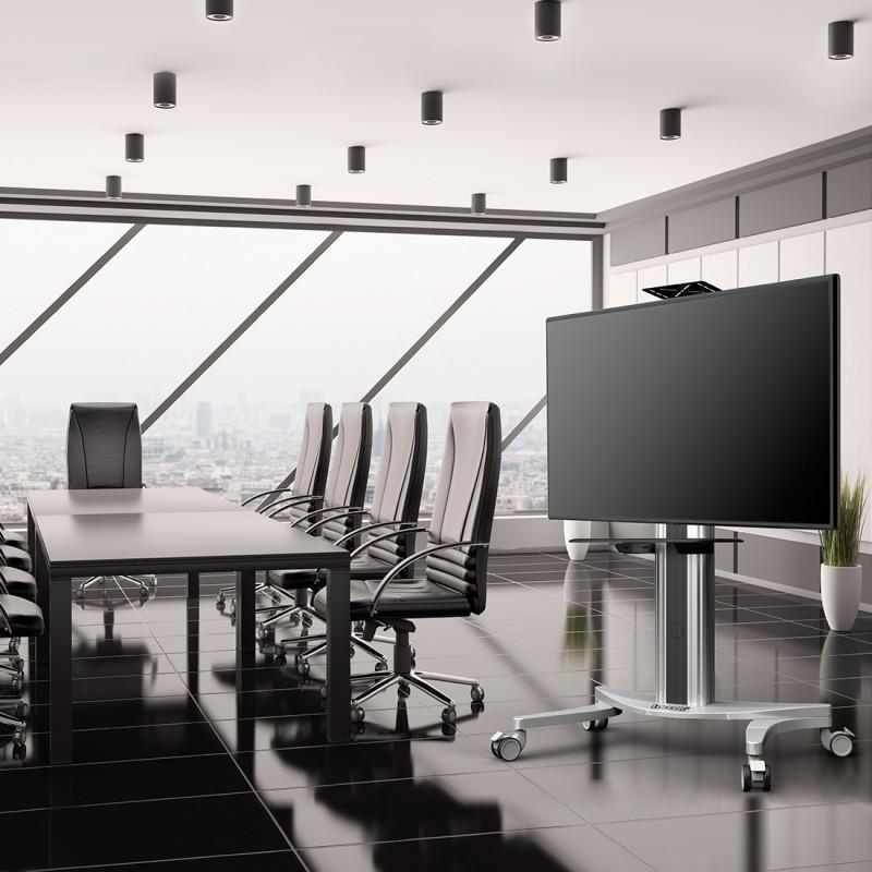 Profesionální A/V stojan na obrazovky 32-70 palců, nastavení výšky a náklonu obrazovky, police na příslušenství, pojezdová kolečka s brzdou, materiál hliník, nosnost 45kg, záruka 5 let - ErgoSolid ADAX50
