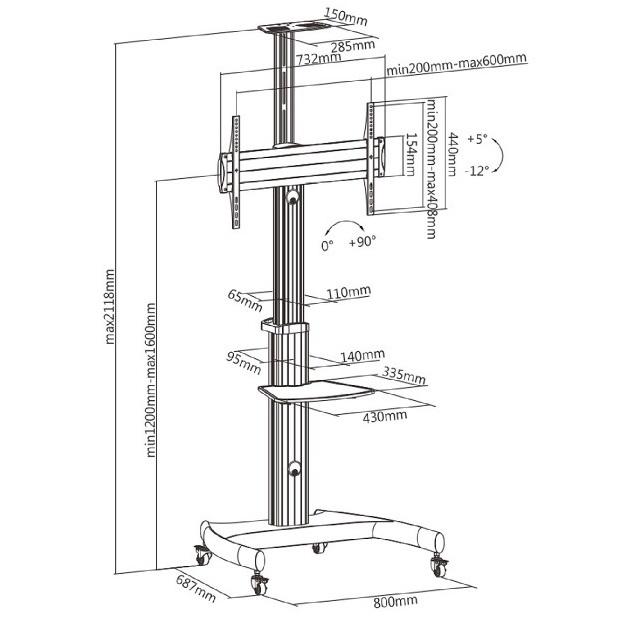 Televizní stojan pro prezentace, výstavy, kanceláře, hotely, firmy - Fiber Mounts M80C1