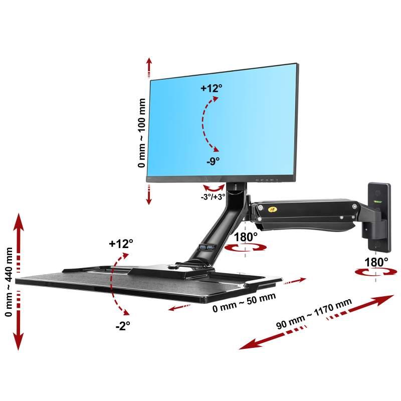 3D polohovatelný držák na monitor All in One Pc a klávesnici, uchycení na zeď nebo svislou plochu - Fiber Mounts MC40B
