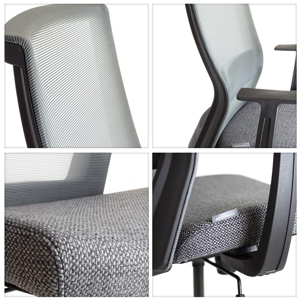 Kancelářská konferenční židle s kolečky polohovatelná ergonomická, TOP kvalita - Ergosolid NELO-G šedá