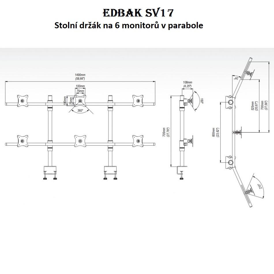 Stolní držák na 6 monitorů v parabole, 2 řasy po 3 monitorech - EDBAK SV17