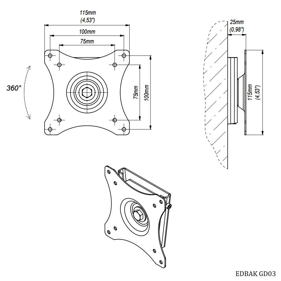 Profesionální držák na Tv nebo monitor, ocelová silnostěnná konstrukce, zajištění proti vysazení, vzdálenost od zdi 25mm, funkce PIVOT - EDBAK GD03 / drzakyastolky.cz