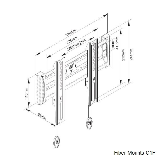Televizní držák Fiber Mounts C1F pro bezpečné zavěšení televizoru na stěnu