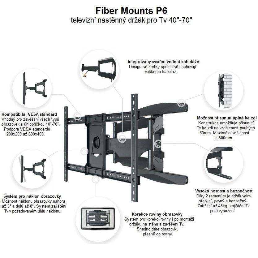 Kvalitní televizní držák pro zavěšení všech typů televizorů s VESA standardem 200x100 až 600x400 a hmotností do 45kg. Otočný a sklopný, délkově nastavitelný tv držák Fiber Mounts P6