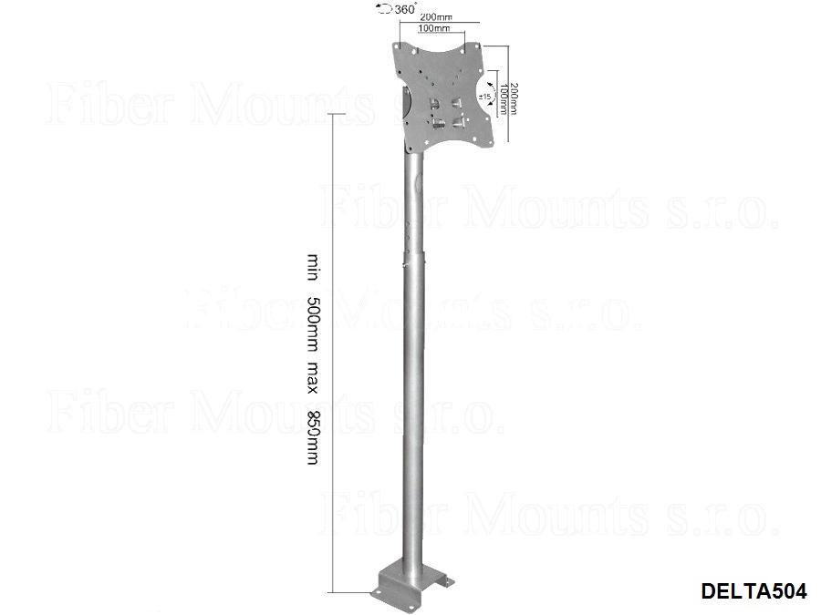 Držák Fiber Mounts DELTA504 stříbrný je možné použít i opačně, tedy s ukotvením do podlahy jako stojan na televize, monitory a dotykové obrazovky.