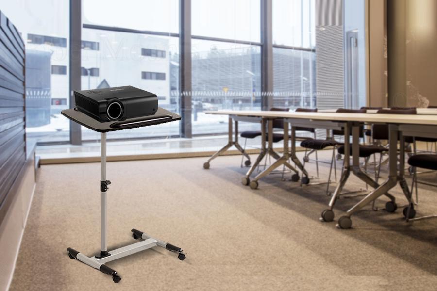 Kvalitní stolek / podstavec / vozík na projektory a notebooky ve velmi pěkném designu v kombinaci stříbrné a černé barvy - Fiber Mounts ST671