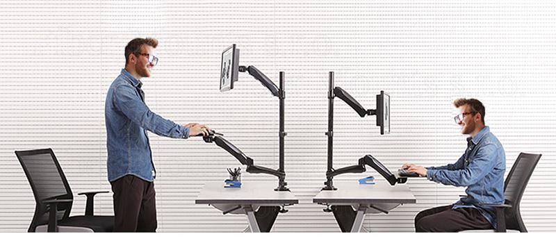 Stolní držák pro práci na PC vestoje nebo vsedě - výškově nastavitelný držák monitoru a výškově nastavitelná police na klávesnici a myš - Fiber Mounts MC681