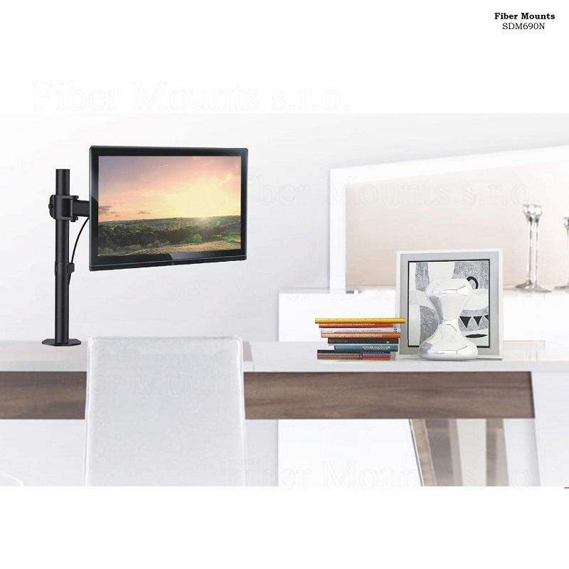 Výsuvný kloubový kancelářský držák na monitory 13-27 palců. Po uchycení monitoru s ním můžete otáčet do stran, naklápět, vysouvat a výškově nastavovat  - Fiber Mounts SDM690N / drzakyastolky.cz