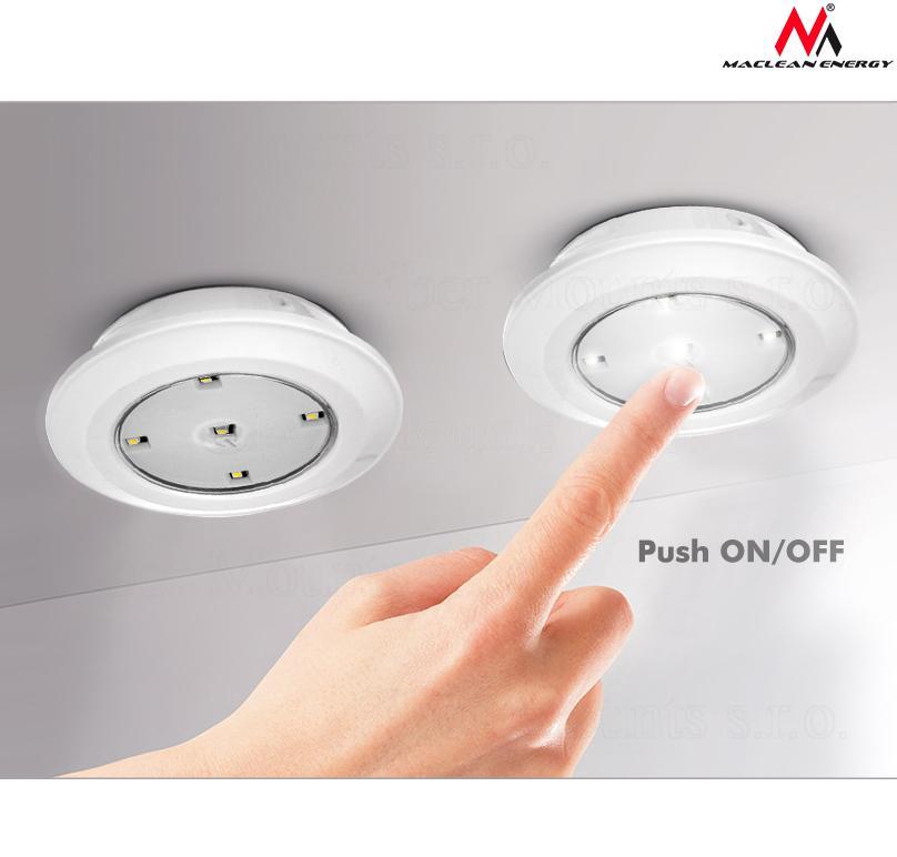 Sada 6ks LED světel včetně dálkového ovládání s více možnostmi sepnutí, možnost zapnutí jednotlivých světel stiskem světelné plochy - Maclean Energy MCE165 / drzakyastolky.cz