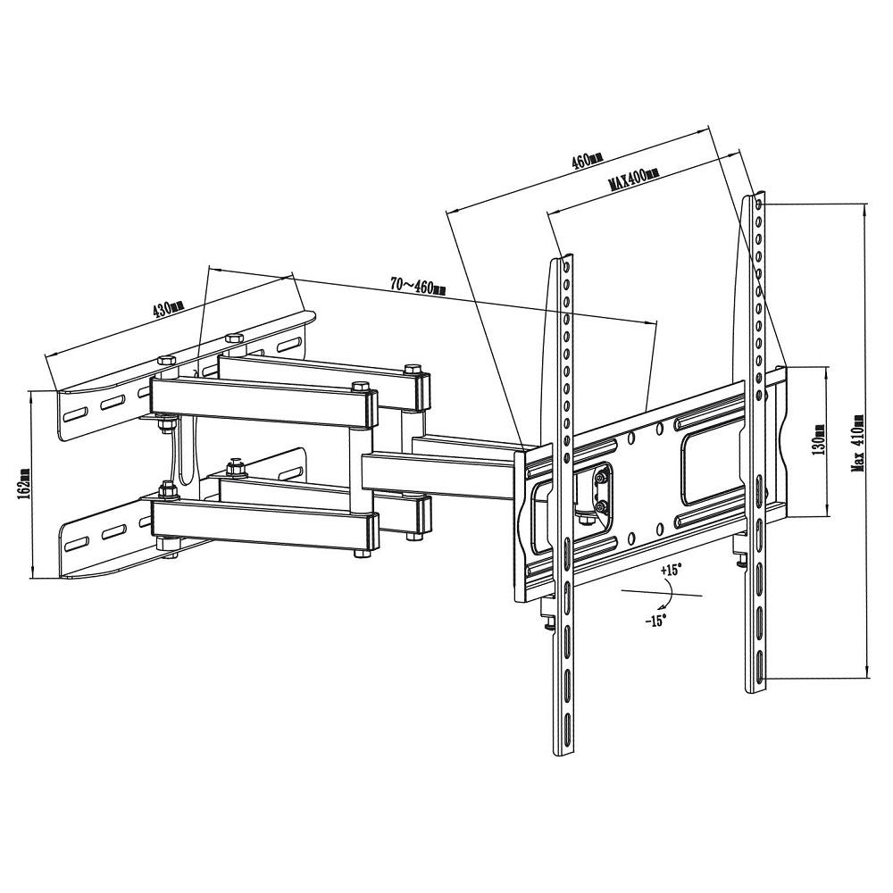 Levný otáčecí a naklápěcí držák na televize, nosnost 30kg, VESA standard, vynikají kvalita, ocelová konstrukce - Fiber Mounts DELTA760