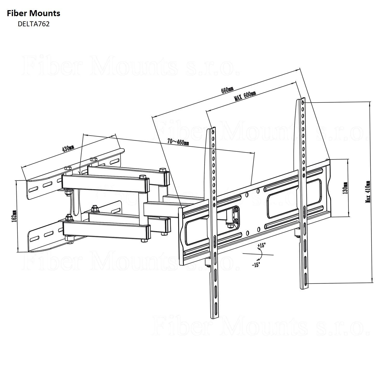 Otáčecí a naklápěcí držák LCD LED televize Fiber Mounts DELTA762