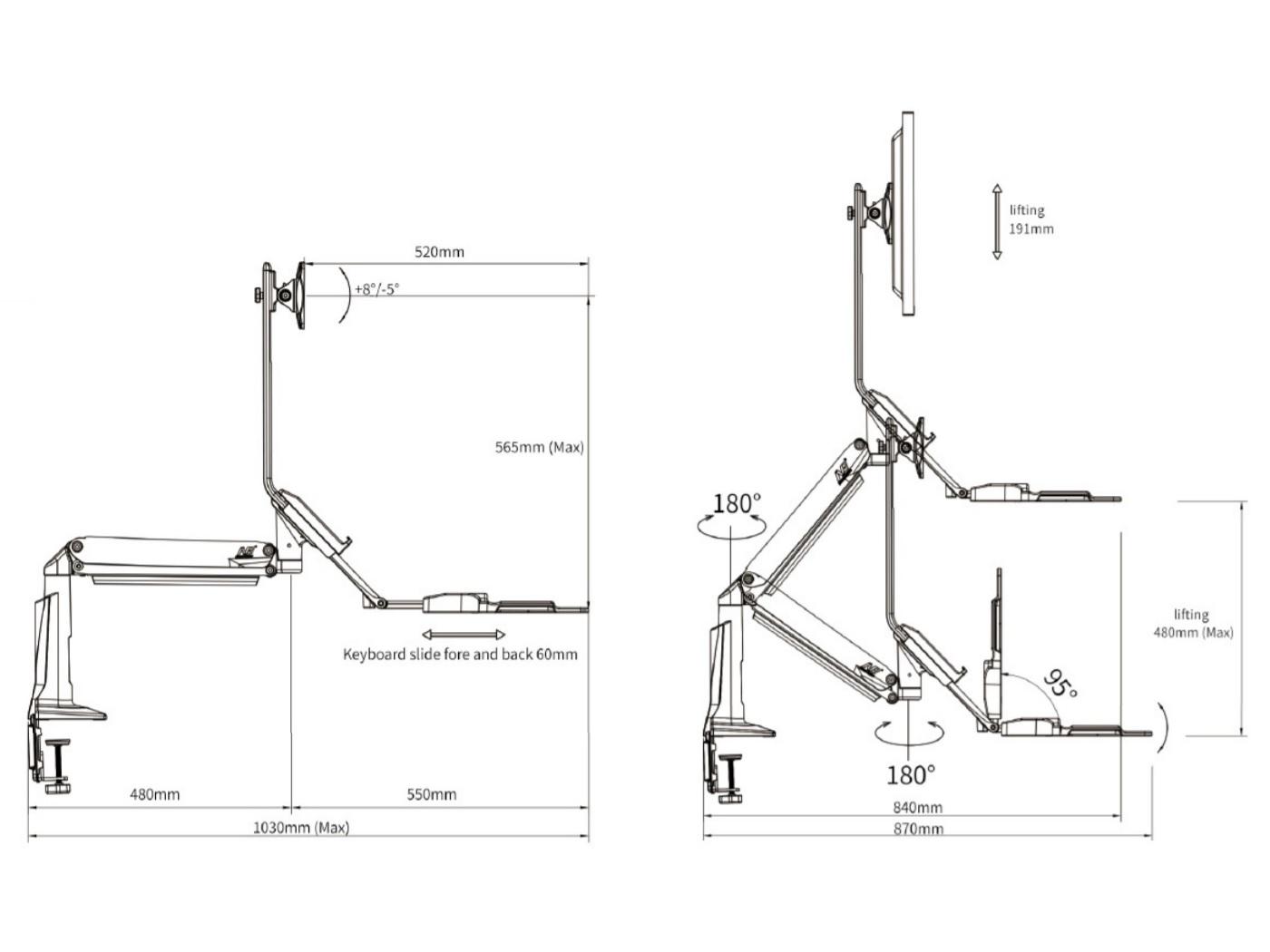 Profesionální kancelářský držák pro monitor i klávesnici, snadné nastavení pro práci vsedě nebo práce vestoje, barevné provedení černé nebo bílé - Fiber Mounts FC35