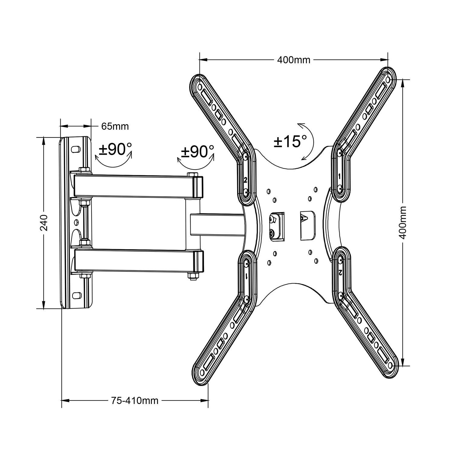 Držák na Tv s nastavením do požadované polohy, otočný, sklopný, délkové nastavení, VESA standard, nosnost 30kg - Fiber Mounts DELTA759